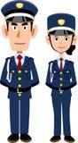 Män och kvinnor av vakter som räcker in bakom royaltyfri illustrationer