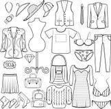 Män och kvinnor för symbolsmodeuppsättning som beklär dräktpåseunderkläderna, skor kategori för produkt för skjortahattlock stock illustrationer