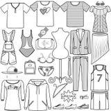 Män och kvinnor för uppsättning för vektorsymbolsmode som beklär dräktpåseunderkläderna, skor kategori för produkt för skjortahat royaltyfri illustrationer