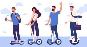 Män och kvinnor med hoverboard stock illustrationer