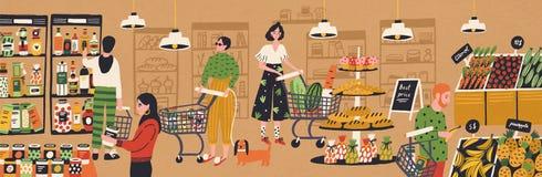 Män och kvinnor med shoppingvagnar och korgar som väljer och köper produkter på livsmedelsbutiken Folk som inhandlar mat på royaltyfri illustrationer
