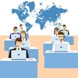 Män och kvinnor som arbetar i en appellmitt serviceservice för illustration 3d Arkivbilder