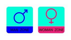 Män och kvinnor undertecknar symboler - vektorillustration Royaltyfria Bilder