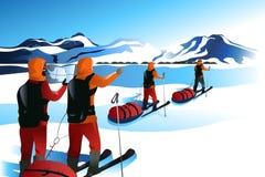 Män på en expedition till ett berg stock illustrationer