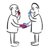 Män skakar händer och väljer deras näsor vektor illustrationer