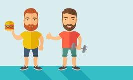 Män som bär kortslutningar, och sleeveless blast stock illustrationer