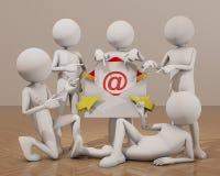 män som 3d pekar fingret på emailen Royaltyfri Fotografi