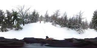 Män som går i den djupa vinterskogen - 360 virtuell verklighet första Person View royaltyfri bild