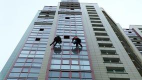 Män tvättar fönster, tvättar fönster på en skyskrapa, arbete som en klättrare arkivfilmer