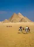 Männer auf Pferden an den Pyramiden Giseh Stockbilder