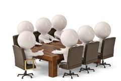 Männer 3D, die an einem Tisch sitzen und Geschäftstreffen haben illustr 3d Stockbilder