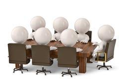 Männer 3D, die an einem Tisch sitzen und Geschäftstreffen haben illustr 3d Lizenzfreie Stockfotografie