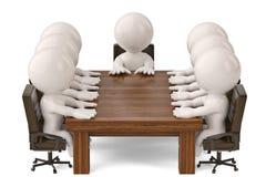Männer 3D, die an einem Tisch sitzen und Geschäftstreffen haben illustr 3d Lizenzfreies Stockfoto