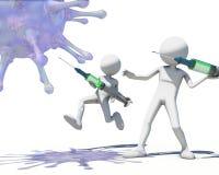 Männer 3d, die Virus vith eine Spritze jagen Lizenzfreie Stockfotos