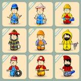 Männer in den Kostümen von verschiedenen Berufen Vektor Abbildung