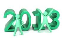 Männer der Grünbeschriftung 2013 und -karikatur Lizenzfreie Stockfotos