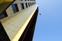 Männer, die hoch arbeiten und an einem Seil hängen Stockfotografie