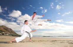 Männer, die Karate üben lizenzfreie stockfotografie