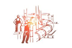 M?nner, die an Rohrleitung, Sicherheitskontrolle, Arbeitskr?fte in den Schutzhelmen, Wartungsgesch?ft, Erd?lraffinerie arbeiten vektor abbildung