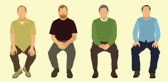 Männer, die sich hinsetzen Stockfoto