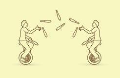 Männer, die Stifte beim zusammen radfahren jonglieren stock abbildung