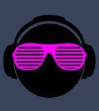 Männer DJ im Kopfhörer. Vektordruckillustration Lizenzfreies Stockbild