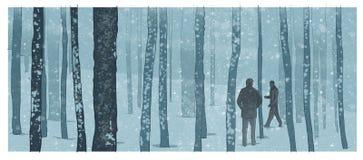 Männer in einer Winterwaldillustration Stockbilder