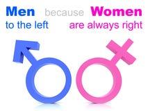 Männer gegen Frauen-Richtungen Stockbilder