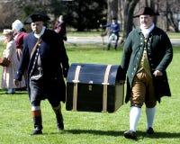 Männer gekleidet als amerikanische Patrioten Stockbild