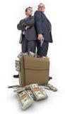Männer, Gewehr und Geld Stockbilder