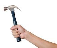 Männer hält einen Hammer lokalisiert auf weißem Hintergrund Lizenzfreie Stockfotografie