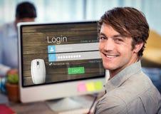 Männer im Büro mit dem Computer Anmeldungsschirm - Benutzername u Lizenzfreies Stockbild