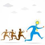 Männer laufen gelassen für neues Ideenkonzeptdesign Stockbild