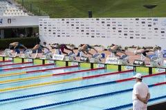 Männer - 50 m-SCHMETTERLING - abschließender Anfang Lizenzfreies Stockbild