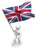 Männer mit Markierungsfahne. Großbritannien Stockbild