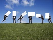 Männer mit unbelegten Zeichen Stockbilder