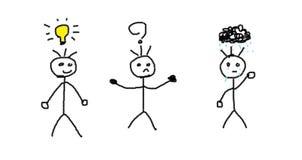 Männer mit verschiedenen Gefühlen lizenzfreie abbildung