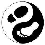 Männer ` s Fuß und Abdruck des Schuhes als yin Yang unterzeichnen Lizenzfreie Stockbilder