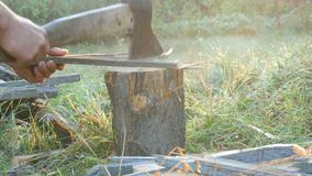 Männer ` s Hände hacken Brennholz mit einer Axt auf einem speziellen Stumpf auf einem Hintergrund des schönen grünen Grases in de stock video footage