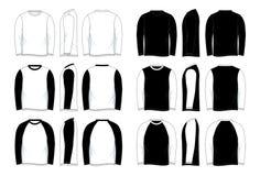Männer ` s leere langärmlige Raglan-Hemd-Schwarzweiss-Schablone vektor abbildung