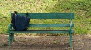 Männer ` s Zubehör mit Taschen auf Holzstuhl graden herein Lizenzfreie Stockfotografie