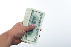 Männer sagten 10000 Dollar in der Hand Stockfotos