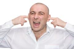 Männer schließt ein whan Schreien der Abdeckstreifen lizenzfreies stockbild