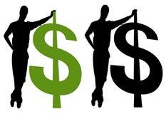 Männer silhouettieren mit Dollarzeichen Lizenzfreie Stockfotos