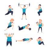 Männer tut Übungen und pumpt Muskeln stock abbildung