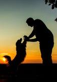 Männer u. Hundeschattenbild lizenzfreie stockbilder