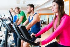Männer und Frauen auf Herz Fahrrädern in der Turnhalle Lizenzfreie Stockbilder