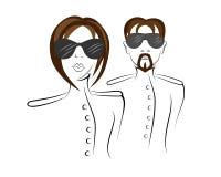 Männer und Frauen in der Uniform stock abbildung