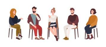 Männer und Frauen, die auf Stühlen sitzen und mit Psychotherapeut oder Psychologe Gruppentherapiesitzung, psychotherapeutisch spr lizenzfreie abbildung
