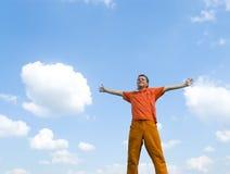 Männer und Himmel Stockfoto